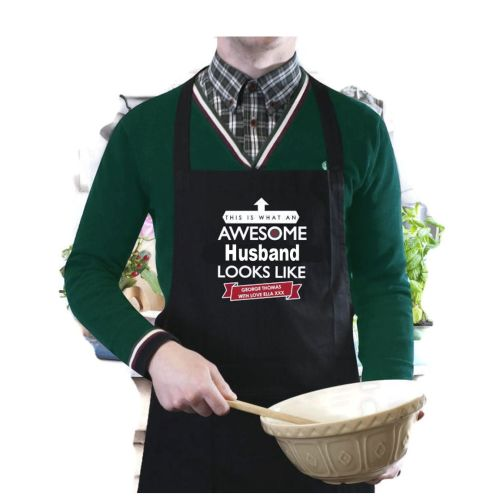 Personalised 'This is What an Awesome... Looks Like' Black Apron