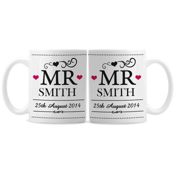 Personalised Mr and Mr Same Sex Wedding Mug Set