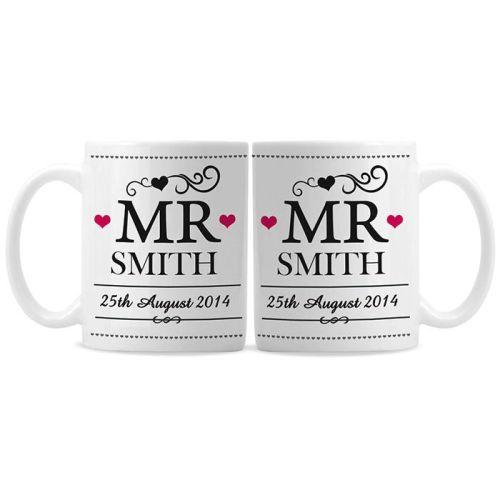Personalised Mr and Mr Same Sex Wedding Mug Set
