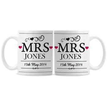 Personalised Mrs and Mrs Same Sex Wedding Mug Set