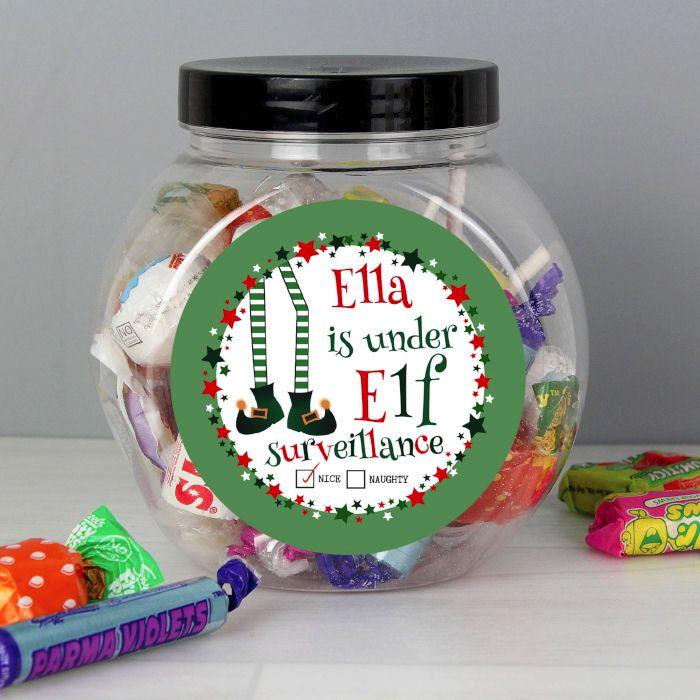 Personalised Elf Surveillance Sweet Jar