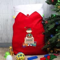 Personalised Christmas Fleece Sack - Elf