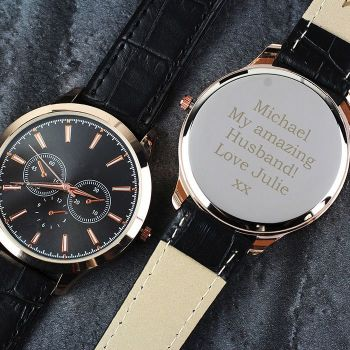 Personalised Mens Gold Watch with Black Strap