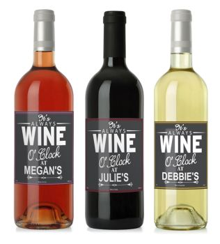 Personalised Wine O'Clock Rose, Red or White Wine