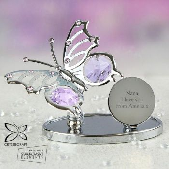 Personalised Crystocraft Butterfly Ornament (any message)
