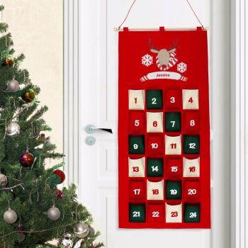 Personalised Retro Reindeer Felt Advent Calendar