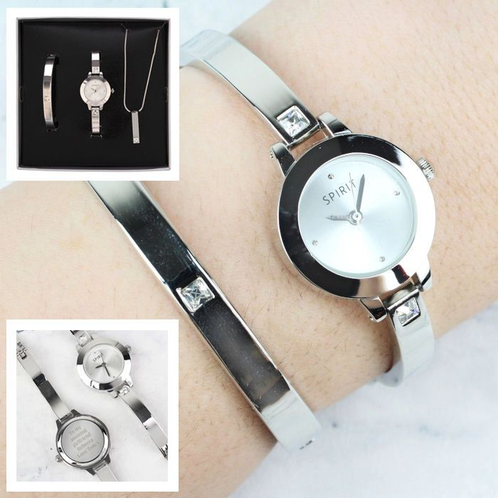 Personalised Ladies Watch Set Engraved Watch Bracelet and Necklace in Gift