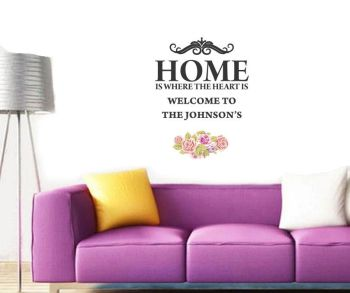 Personalised Home is where the heart is Wall Art