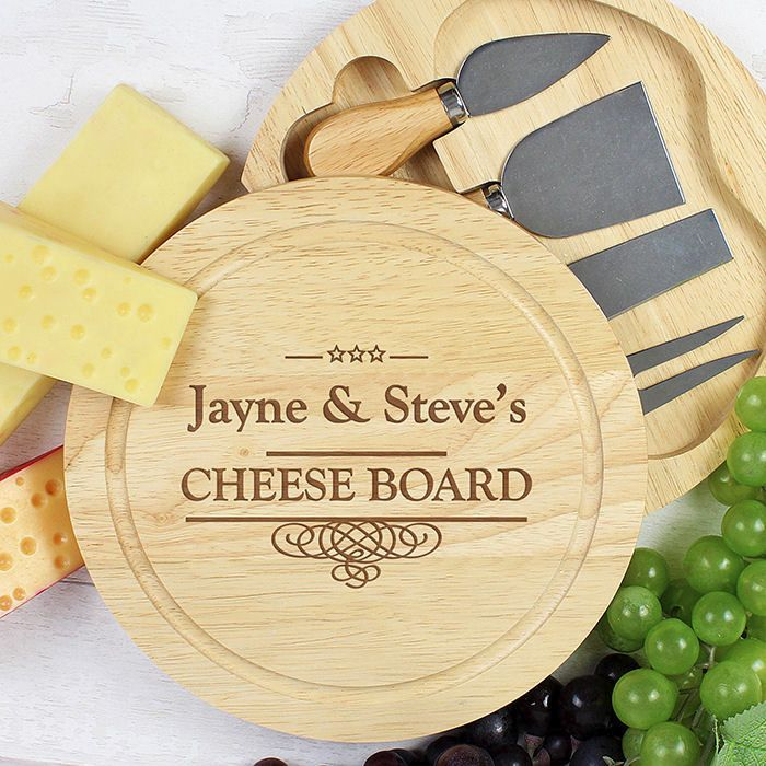 Personalised Large Cheese Board with Cheese Knives (Swirl)