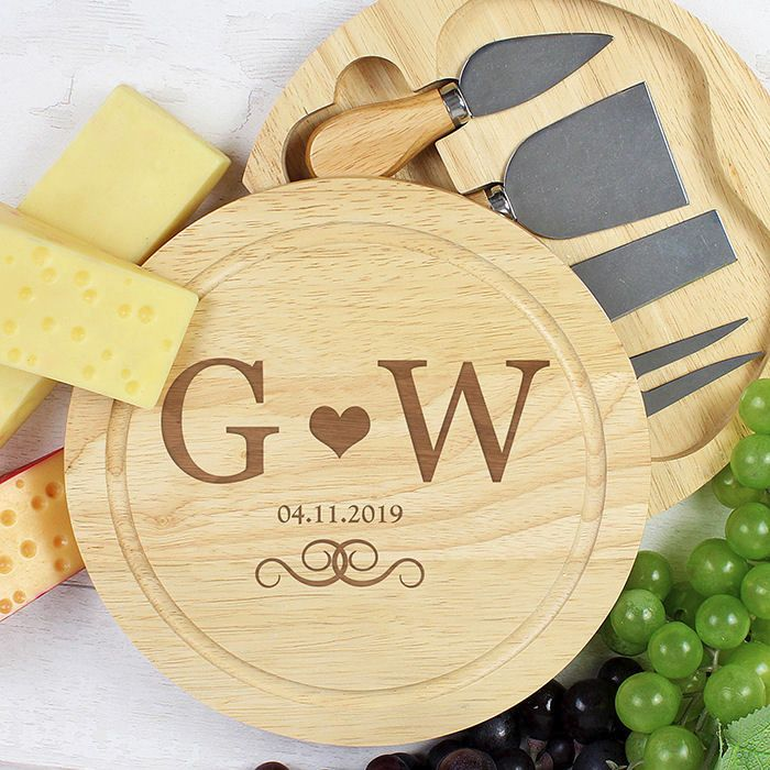 Personalised Large Cheese Board with Cheese Knives (Monogram)