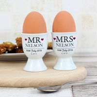 Personalised Mr and Mrs Pair of Egg Cups