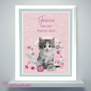 Personalised Cute Kitten White Framed Poster Print