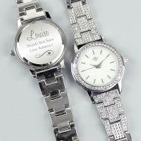 Personalised Swirls and Hearts Diamante Ladies Watch