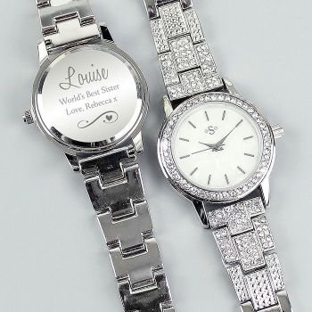 Personalised Swirls and Hearts Diamante Ladies Watch