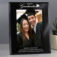 Personalised Graduation Black Glass 7x5 Photo Frame