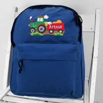 Personalised Boys Backpack - Tractor