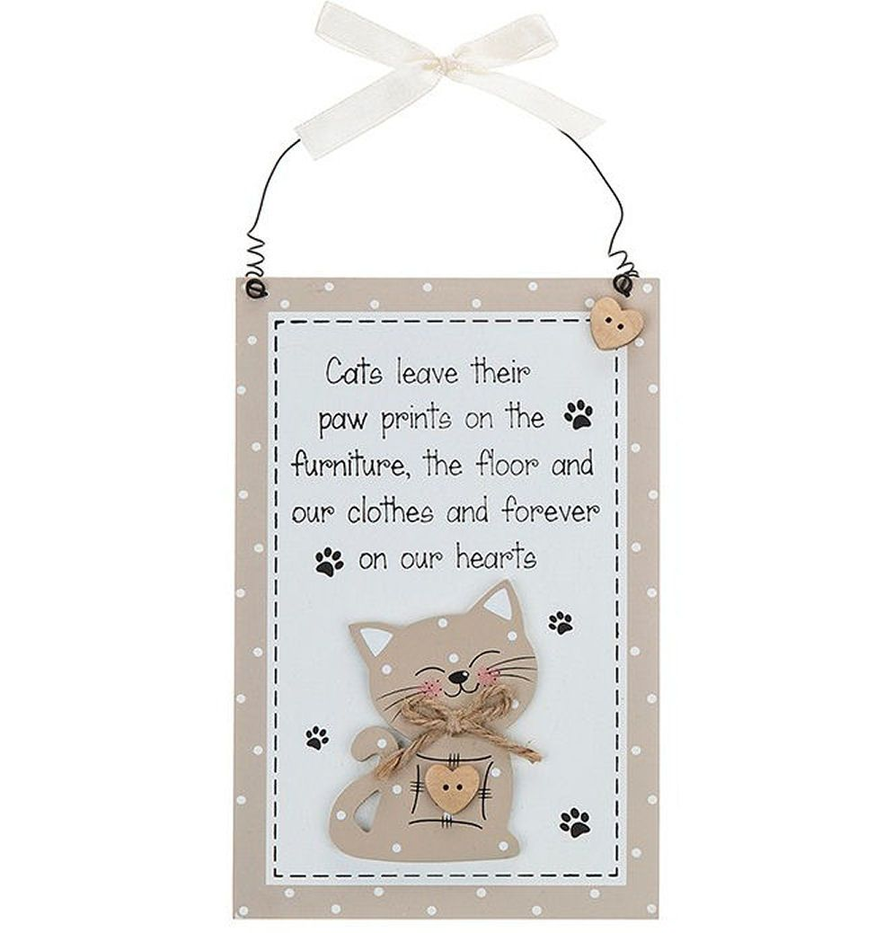 Cat Vertical Hanging Plaque - Natural