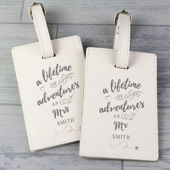Personalised 'Lifetime of Adventures' Couples Luggage Tags