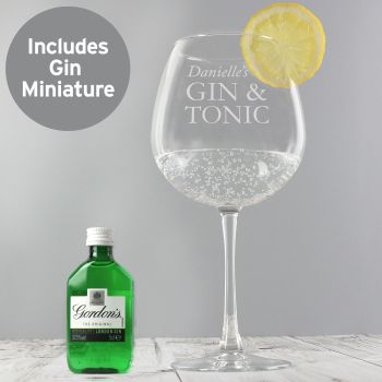 Personalised Gin and Tonic Balloon Glass with Gin Miniature Set