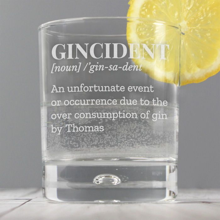Personalised Gincident Tumbler Bubble Glass for Thomas