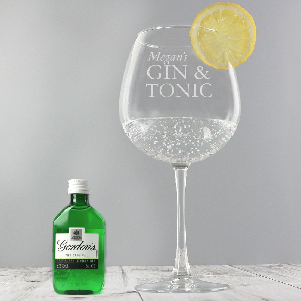 Personalised Gin and Tonic Balloon Glass with a lemon and Gin Miniature Set