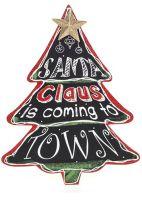 Christmas Plaque Large Chalkboard Tree Shape, Santa