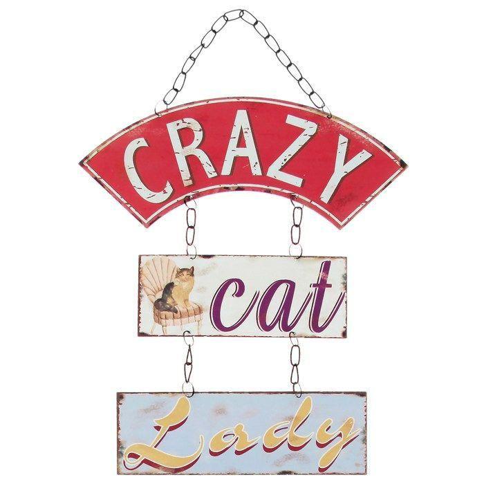 Crazy Cat Lady Hanging Plaque