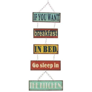 Breakfast in Bed Hanging Plaque Metal Plaque