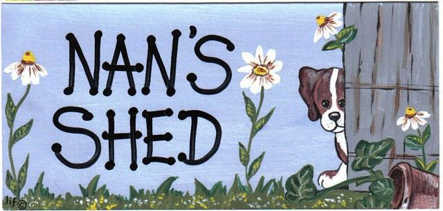 Nan's shed hanging garden sign plaque