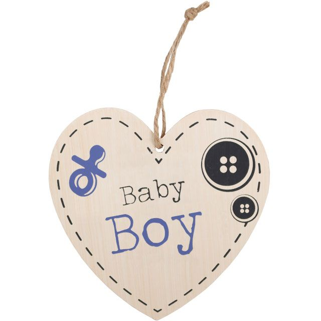 Baby Boy Hanging Wooden Heart Plaque