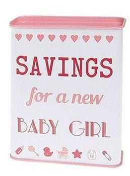 Saving for a New Baby Girl Tin Money Bank