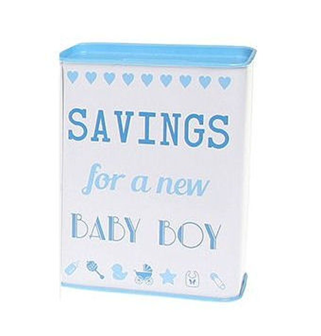 Saving for a New Baby Boy Tin Money Bank
