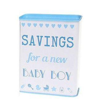 Saving for a New Baby Boy Tin Money Bank