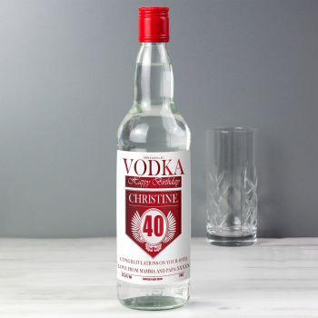 Personalised 40th Birthday Red and Silver Vodka