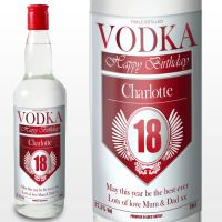 Personalised 18th Birthday Red and Silver Vodka