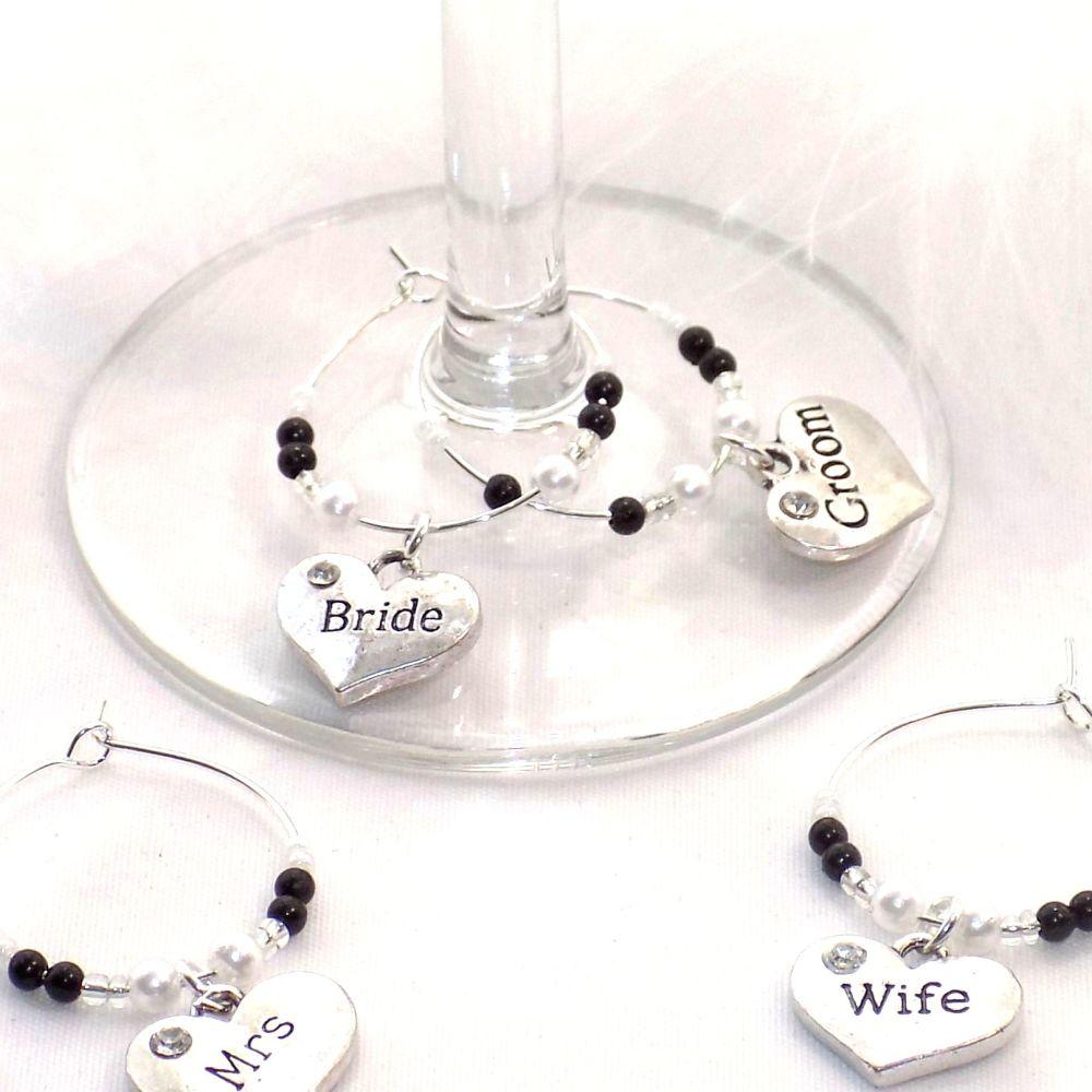 Top Table Wedding Wine Glass Charms Set