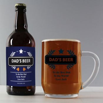 Personalised Blue Wheat Beer and Tankard Set