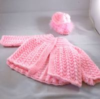 Baby Girl Pink Knitted Coat and Bonnet
