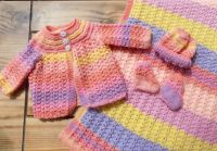 Baby Girl Pink, Peach and Lilac Matinee and Blanket set
