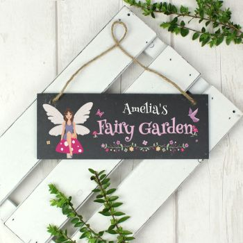"Personalised ""Fairy Garden"" Printed Hanging Slate Plaque"