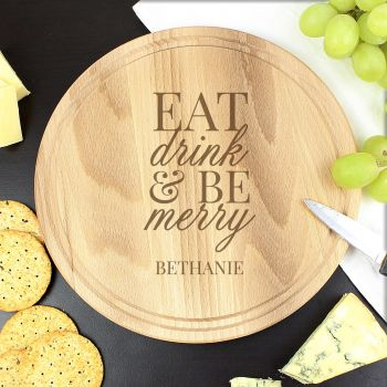 Personalised Eat Drink and Be Merry Round Chopping Board