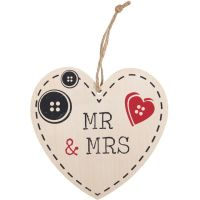 Mr and Mrs Wooden Heart Plaque