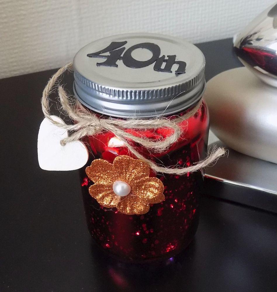 40th Firefly Mason Jar - Red