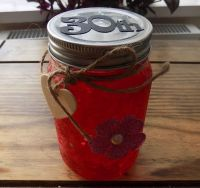 30th Firefly Mason Jar - Frosted Red