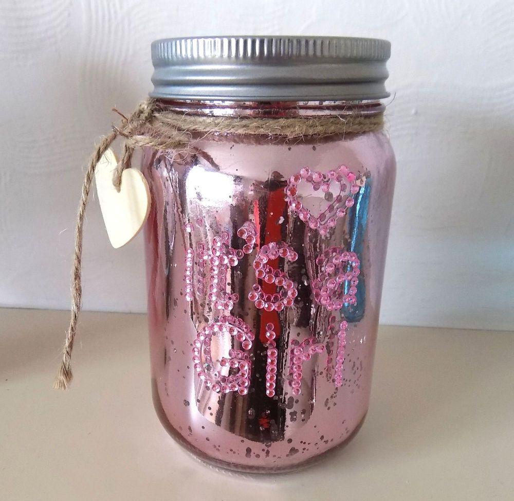 It's a Girl Baby Firefly Mason Jar in Pink