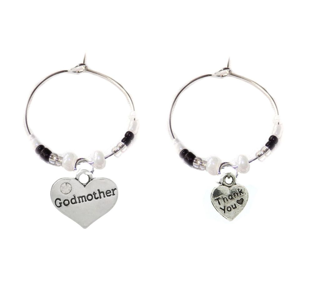 Godmother Thank You Wine Glass Charms