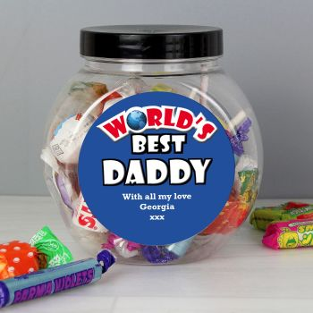 Personalised Blue Worlds Best Sweet Jar (any recipient)