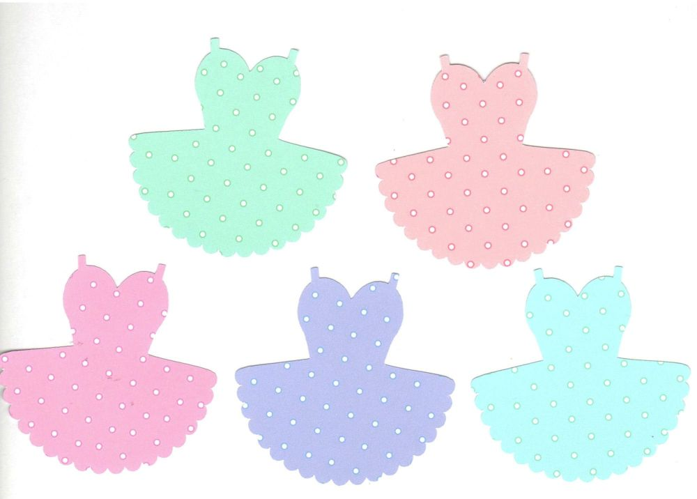 Ballet Dress Pastel Polkadot Embellishments x 10