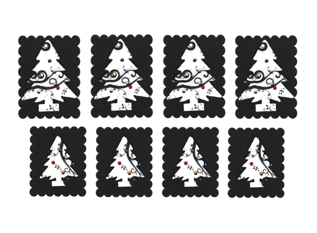 Christmas Tree Black and White Toppers