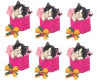 Christmas Kitten in a Pink Parcel Card Toppers